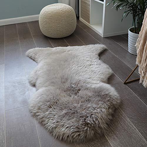 Liapianyun Großer Schafffell Teppich, Mokka Echte Schafwolle Ökologischer Herstellung Bettvorleger Wohnaccessoire(Enthält Nur Einen Teppich),Grau