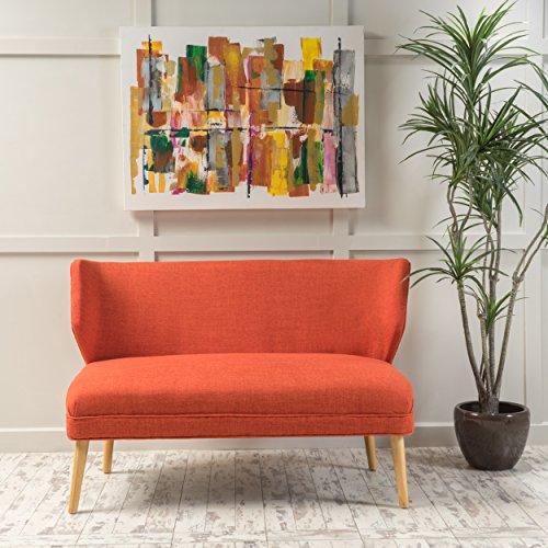 Christopher Knight Home 299390 Dumont Mid Century Modern Fabric Loveseat Sofa Settee (Orange)