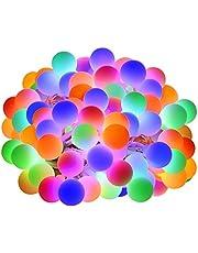 LE Led Lichtketting kleurrijk, 13m 100 gloeilampen, Ball Lichtsnoer met 8 Modi en Geheugenfunctie, Waterdicht Lichtketen voor Buiten, Tuin, Binnen,Terras, bont decoratieve Feestlichtketting met stekker