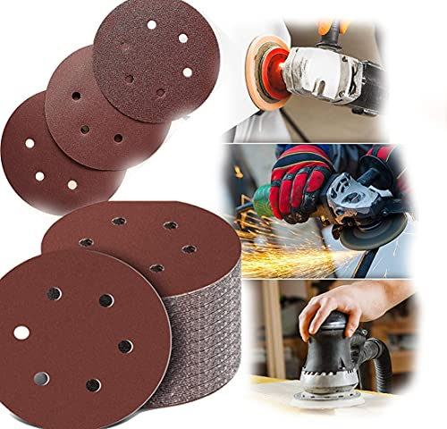 Discos de 125 mm para lijadora excéntrica, 100 unidades para madera aglomerada, metal, grano 40-800 (6 agujeros)