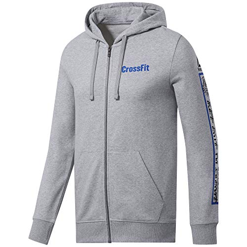 Reebok Herren Cf Full Zip Graphic Hoodie Weste, Medium Grey Heather, XS