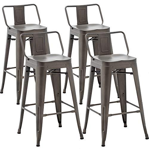 AKLAUS Metal Bar Stools Set of 4 Counter Height Stools 26 Inchs Counter Stools with Backs Bar stools with Backs Bar Height Stools 26' Ergonomic Seat, Low Back, Rusty