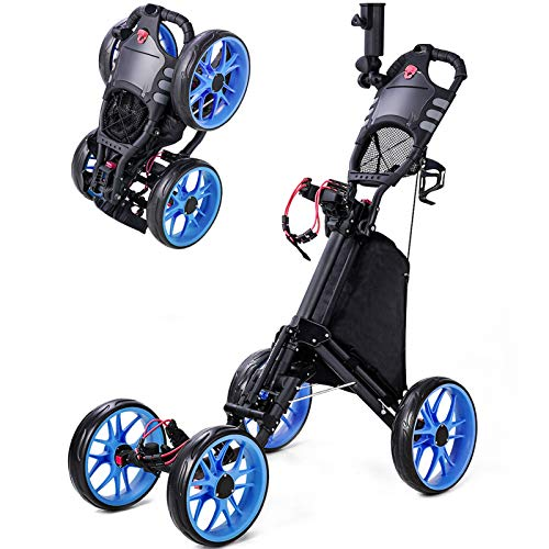 BANIROMAY Upgraded Golf Push Cart, 4 Wheel Lightweight Folding Golf Pull Carts, Collapsible Golf Walking Cart for Golf Clubs