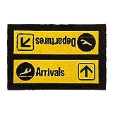 CKB LTD® ARRIVALS AND DEPARTURES Airport Novelty DOORMAT Unique Doormats Front/Back Door Mats Made with a non-slip PVC backing - Natural coir - Indoor & Outdoor