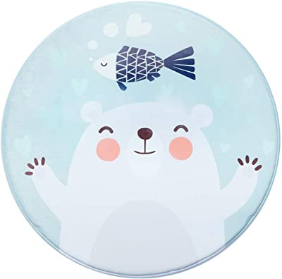 YYQIANG Cartoon Simple Round Living Room Carpet Sofa Coffee Table Mat Bedroom Absorbent Non-Slip Carpet 100 * 100cm Activity,Fitness (Color : B, Size : 120 * 120cm)