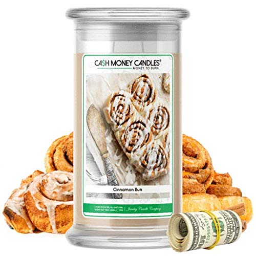 Cash Money Candles | $2-$2500 Inside | Guaranteed Rare $2 Bill | Large Long-Lasting 21oz Jar All Natural Soy Candle | Hand Poured Made in The USA Family Owned (Cinnamon Bun)