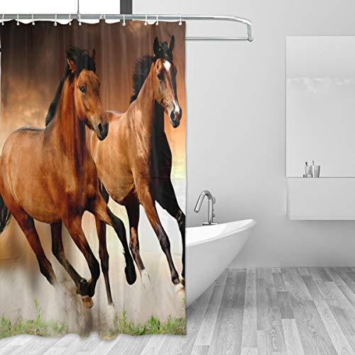 FANTAZIO Duschvorhang mit Pferde-Muster, Polyester, mit dicken C-förmigen Haken, für Badezimmer, wasserdicht, langlebig & superwasserdicht, 183 x 183 cm