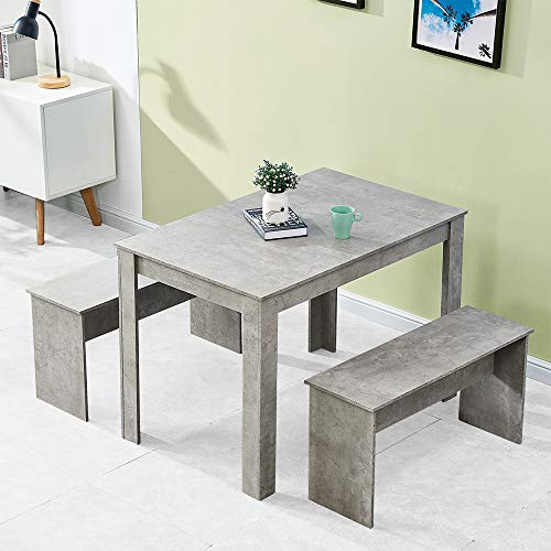 BELIFEGLORY Dining Table and 2 Benches, Space Saving 3 Pieces Wooden Furniture Set for Home, Kitchen, Office, Small Apartment (Grey)