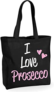60 Second Makeover Limited I Love Prosecco Black Cotton Quality Shopping Bag Reusable Shopper