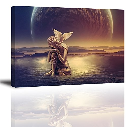 Buddha Canvas Wall Art, Zen Buda Paintings on Canvas Prints for Bedroom, Peaceful Pictures Home Decor, 1' Deep, Framed Ready to Hang, Waterproof