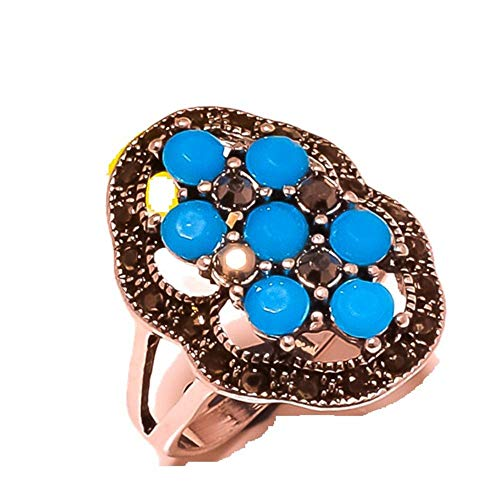 Shivi MARKA Design! Ring Size 8.75 US, Simulated, Blue Chalcedony! Sterling Silver Plated, Handmade! Jewelry from