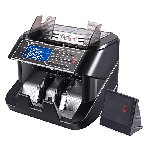 Money Counter, Upgraded 1,200 Notes/Min Bill Counting Machine with MT/DD/UV/MG/IR Counterfeit Detection, LED Display, Batch Mode - Doesn't Count Value of Bills MMC02