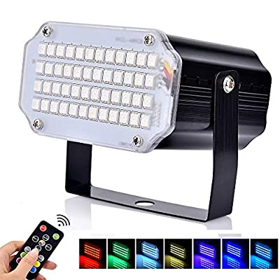 BASEIN Strobe Lights, 48 LED Disco Lights, Party Light with Remote Control, Voice Activated RGB LED Strobe Lamp for disco, wedding, Christmas, Halloween and party