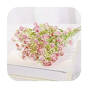 Silk Flower Arrangements F-pump Latex Baby's Breath Artificial Flowers Branch Long Wedding Home Decor White Silicone Gypsophila Fake Flowers Party Arrangement-Pink-