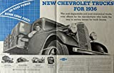 1936 Ford Trucks, 30's Print Ad. Two Full Pages Color Illustration (commercial mich. 36 plates) Original Vintage 1936 Collier's Magazine Print Art