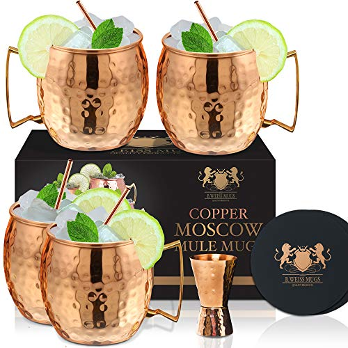 Moscow Mule Copper Mugs Set Of 4 By B.WEISS 100% Pure Copper +Bonus: 4 copper straws+4 coasters 1 shot mugHandmade Hammered Copper Cups