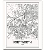 Fort Worth Poster Fort Worth Map City Map Posters Fort Worth Texas Map Wall Art Black and White Map Modern Map Art Minimalist Poster Scandinavian Poster Fort Worth Art 8x10 inch