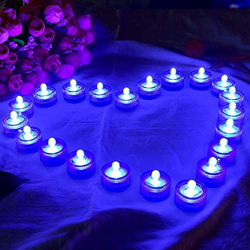 HL 36pack Azul Impermeable Submarino Redondo Mini LED Luces de Té Luces Sumergibles para Boda Inicio Patry Jarrón Festival Decoración de San Valentín