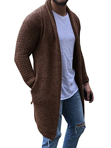 EastLife Mens Cardigan Sweaters Long Sleeve Cable Knit Open Front Cardigans with Pocket, Khaki, Medium