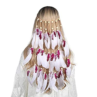 Top Calidad hecha a mano: la banda de hídeos Hippie está hecha de hilo trenzado de plumas y cuentas de madera. La artesanía es de primera clase. La banda de pelo de la pluma se puede ajustar. No tiene daño a la piel y es fácil de poner y despegar. Se...