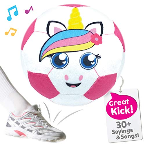Move2Play Pink Unicorn Soccer Ball, Hilariously Interactive Gift with Music and Sound FX for Soccer Loving Girls Toy for 2 3 4 5 6 Years Old
