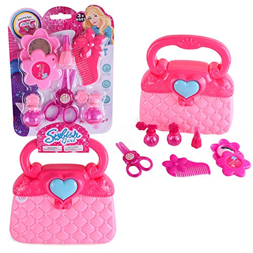 Ruiting Little Girls Pretend Makeup Set Cosmétique Salon De Beauté Toy Pretend Dress Vanity Kit pour Toddlers Kid avec Miroir Enfants kit de maquillage1 Ensemble