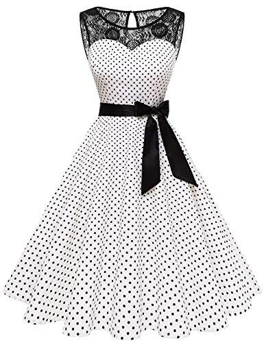 bbonlinedress 1950er Ärmellos Vintage Retro Spitzenkleid Rundhals Abendkleid White Black Dot M