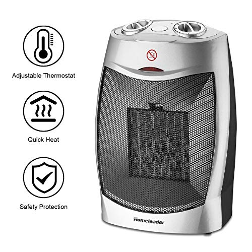 Homeleader Ceramic Space Heater for Home and Office, Portable Electric Heater with Adjustable Thermoststs, 750W/1500W NSB-200C3B Heater Space