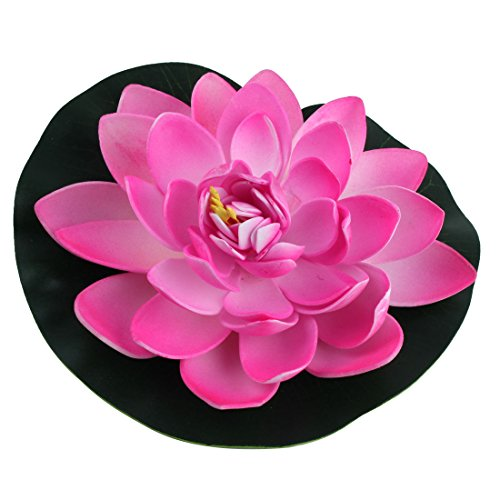 sourcingmap Étang Jardin Flottant Artificiel en Mousse Fleur pour Lotus Rose Vert Ornement végétal