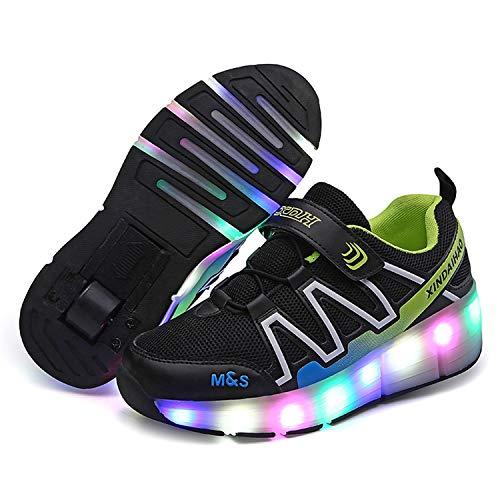 YSTHEZ Niños Roller Skates Tecnología Retráctil Skateboard zapatos Deportes al aire libre Flash Gimnasia Sneakers Roller Skate,Negro, 33EU