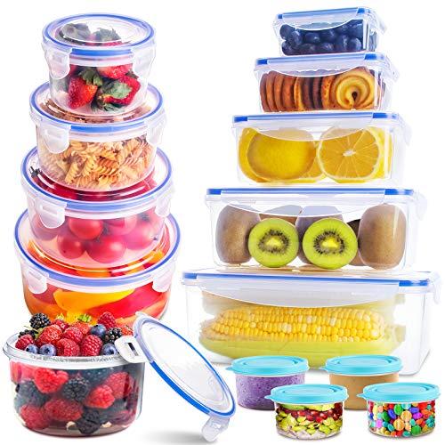 SYOSIN Frischhaltedosen (Set klick-it 28), Frischhaltedosen aus Kunststoff mit Deckel-Aufbewahrung von, Kunststoffbehältern mit Deckel, auslaufsichere Organisation für Küche und Speisekammer-BPA-frei