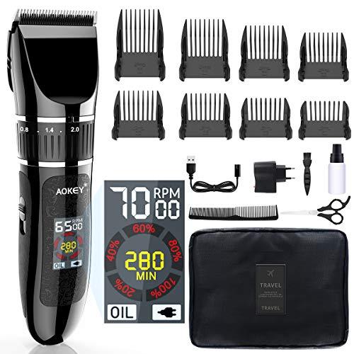 Tondeuse Cheveux, Tondeuse Cheveux Hommes Professionnel Electrique avec Ecran LCD Imperméable Livré avec des Ciseaux et un Sac de Rangement