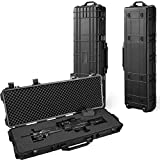 GDT 43-inch Oversized Rifle Gun Case, All Weather Water-Proof Safety Hard Case with Wheels and Cuttable Foam, Watertight, Airtight, Great for Rifle, Gun, Bow, Camera and Electronic Keyboard Storing