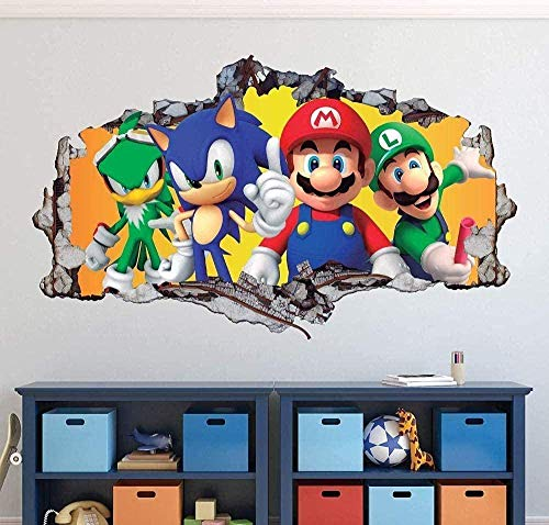 Pqnlub 3D Appearance Wall Stickers 3D Wall Stickers Brothers Brothers Wall Stickers Decorative Art 3D Sonic Hedgehog Decal Mural Children'S Gifts