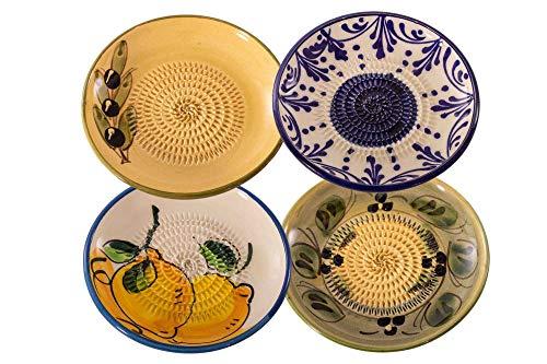 Muxel Keramikreibe Ingwer, Knoblauch, Muskatnuss, Parmesan Reibe 4er Set beige blau gelb