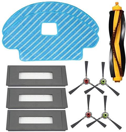 HAOKAN Accesorios para el hogar Lopbinte Piezas de repuesto para DEEBOT OZMO 930 Robotic Aspirador-Filtro de esponja y filtro de alta eficiencia cepillo lateral cepillo principal trapeador paño