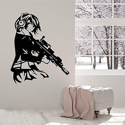 Tong99 Cool Anime Meisjes met pistool Koptelefoon Vinyl Muurtattoos Home Decoration Woonkamer Kunstst Muursticker 58 * 70cm