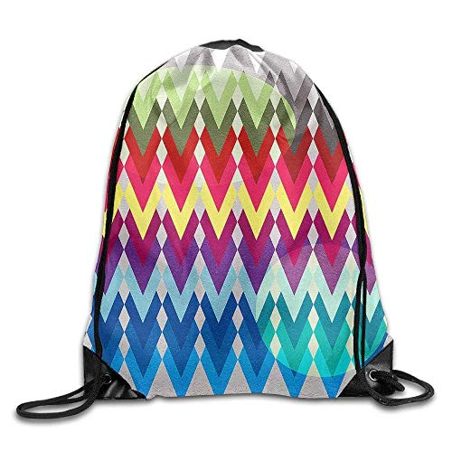 uykjuykj Tunnelzug Rucksäcke, Geometric Colors Mark 100% Polyester Drawstring Backpack Workout Backpack Buggy Bag Lightweight Unique 17x14 IN