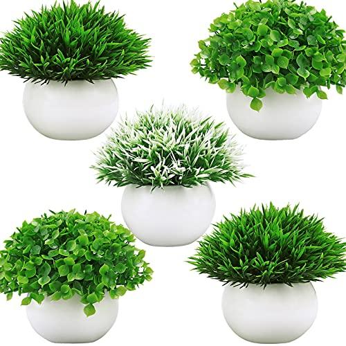 Summer Flower 5 Pack Mini Artificial Plants in Ceramics Pots