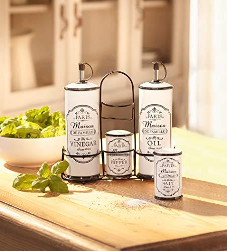 Dekoleidenschaft Sfere Decorative, 5 Pezzi Set per spezie Maison, aceto e Olio, saliera e pepiera, Dispenser per Olio e Vinegar