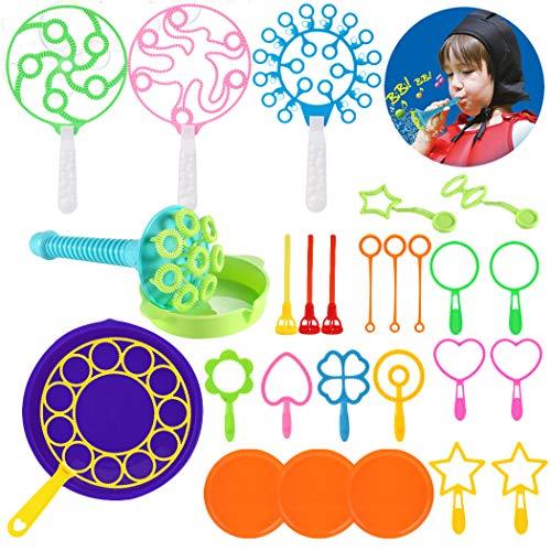 FunPa Seifenblasen Set für Kinder, 28 Stück Buntes Seifenblasen Spielzeug Set Sortiment an Seifenblasen Stab für Kinder Erwachsene Sommer Garten Outdoor Indoor Kindergeburtstag Partei Supplies