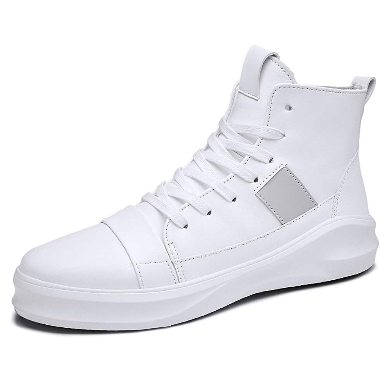 メンズシューズ 男性用スポーツシューズスポーツシューズレースアップスタイルはすべてファッションと軽量のピュアカラーラウンドトゥハイトップファッションスニーカーです 通気性 (Color : 白, サイズ : 27 CM)