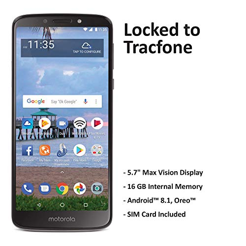 Tracfone Carrier-Locked Motorola Moto e5 4G LTE Prepaid Smartphone - Black - 16GB - Sim Card Included - CDMA