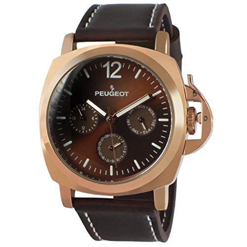 Peugeot Men's Sport Watch, Multi-Function with Crown Guard and Leather Wrist Band, Brown