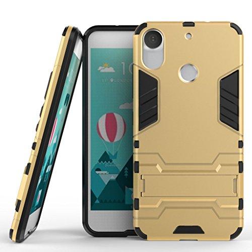 Ougger Handyhülle für HTC Desire 10 Pro Hülle Schale Tasche, Extreme Schutz Schon [Kickstand] Leicht Armor Hülle Schutz SchutzHülle Case Hart PC + Soft TPU Gummi Haut 2in1 Back Gear Rear Gold