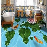 Habitación Sala De Estar Cafetería Bar Habitación De Invitados Baño Baño Sala De Estar Dormitorio Se Puede Personalizar 3D Lotus Carp Floor Tiles-400X280Cm Azulejos De Suelo 3D Murales Pegatinas Cua