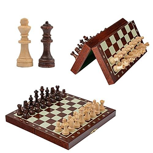 Hermoso juego de ajedrez magnético de madera, juego de ajedrez de lujo con figuras magnetizadas, piezas de ajedrez hechas a mano para adultos y niños (20 x 20 cm)