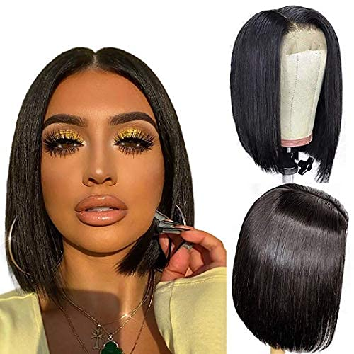 ALI GRACE Bob Wig Human Hair 4x4 Pre Plucked Bleached knots Lace Front Wig 150% Density Brazilian Virgin Human Hair Lace closure wigs 12 inch Natural Color