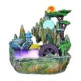 Decoración de acuarios Fuente de mesa cubierta Pequeño jardín de rocalla de escritorio montaña cascadas con mirador Azud Rolling Ball for el Feng Shui Decoración regalo afortunado Adornos creativos