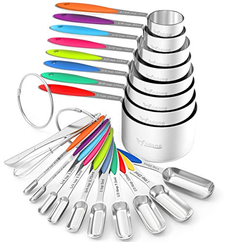 Measuring Cups and Spoons - Wildone Stainless Steel 20 Piece Stackable Set Includes 8 Measuring Cups 10 Measuring Spoons 1 Leveler 1 Whisk for Dry and Liquid Ingredient